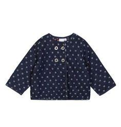 a06bbe4e134f07 Junior J Jasper Conran Baby Girls Quilted Jacket Polka Dot Blue 3-6 Months