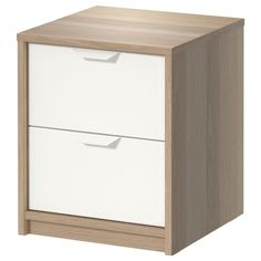 IKEA ASKVOLL Chest of 2 drawers White stained oak effect/white 41x48 cm Smooth…