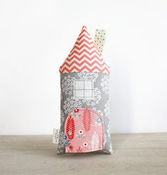 Toy House Pillow, Tooth Fairy Cottage, Stuffed Toy, Coral and Gray, Girls, Children, Toy, Keepsake, Special Occasion