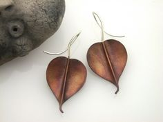 Copper Bodhi Leaf Earrings