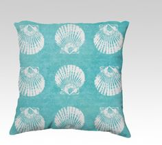 #coastal #pillow 18x18 or 22x22 velveteen cover by VintageChicImages #seashell #shell #homedecor #aqua #turquoise #beach #ocean #nautical
