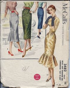 Vintage 50s McCall's Fishtail Skirt Sewing Pattern 3482 W26
