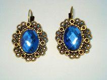 Cabochon Ohrringe blau oval