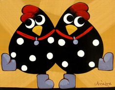 """ Chicken Dance "" Whimsical Chickens Art painting by Annie Lane Folk Art"