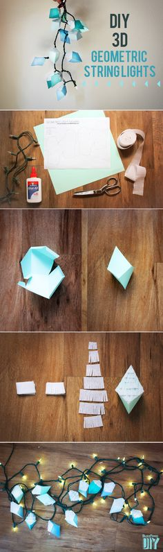 3-D Geometric Hexahedron String Lights | 3 Adorable DIY String Light Ideas To Light Up Your Summer