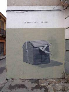 "Escif. ""Flexibilidad laboral"" (Labour market flexibility) Valencia, Spain"
