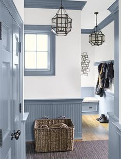 How to Add Architectural Detail With Paneling & Molding. Thus entryway has extra flair with the breadboard and decorative moldings Porta Colonial, Wall Molding, Crown Molding, Painting Trim, Interiores Design, White Walls, Neutral Walls, Small Spaces, New Homes