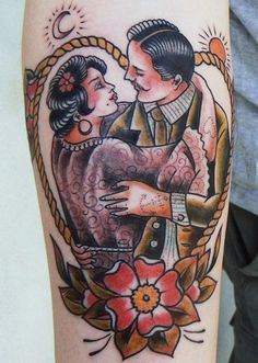 American Traditional of Tattooed Couple