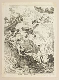 """The Pitt Fall"" by Thomas Rowlandson (1789) in the Royal Collection, UK - From the curators' comments: ""An uncoloured print of Pitt and his party's quest for power. Pitt runs unawares into a pit full of demons as he pursues a winged crown. The Duke of Richmond tumbles into the pit and is immediately greeted with a demon wielding a pitchfork. Behind him, Thurlow swings a mace at the Crown who is pursued by Grafton who expresses his desire to catch the crown."""