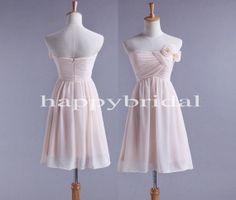 Elegantes trägerloses Rosa Brautjungfer Kleider handgemachte Blume Prom Kleider, Party Kleider 2014 Hochzeit Anlässe
