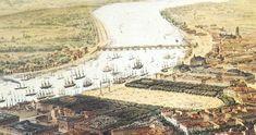 Vieille gravure de Bordeaux en 1830 avec le Pont de Pierre - Sans référence d'auteur - Collection particulière