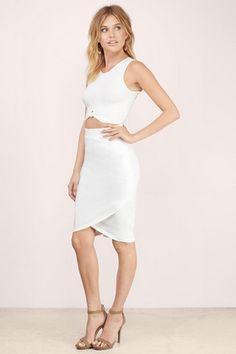 New Arrivals, Tobi, White Cut And Edit Midi Skirt