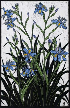 Rachel Newling. Running Iris. Hand coloured linocut on handmade Japanese paper.