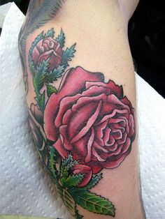large victorian rose tattoo by A Gypsy Rose Tattoo New Orleans, via Flickr