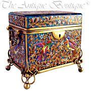 Antique 19thc Bohemian MOSER Blue Art Glass Raised Enamel Jewelry Box / Sugar Casket