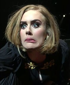 "You look like a movie  ... My God this reminds me of ... the face that ""The Grinch"" made ...and, if you wanna know, I watched that movie when I was young lol #Adele #funnyfaces"