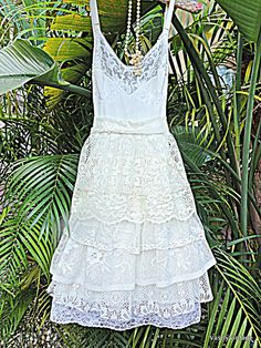Bohemian Lace Vintage Slip Wedding Dress Reclaimed Romantic Bridesmaid Dress Made to Order (AUDREE)
