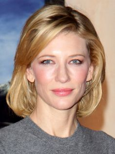 cate blanchett long bob:  a fuss-free, moderately long cut that still delivers a chic, sophisticated style. Ask your stylist for a long bob that falls somewhere between the nape of your neck and your shoulders. To achieve this versatile look, which works well for any face shape and hair texture, blow dry your hair using a round brush (to add volume at the crown), smooth, and curl the ends under.