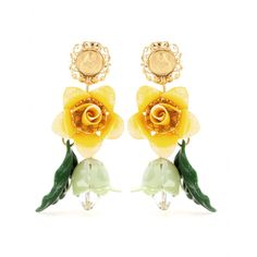 Embellished with bright, bold flowers, Dolce & Gabbana's enamel earrings can't help but dress up every ensemble.