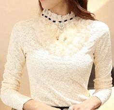 New Fashion Women Cotton Winter Pullover Vintage Warm Sweater Lace Beads Bottom Pull Femme Shirt Top Blouse Long Sleeve Tetro
