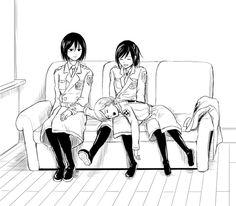 Mikasa, Sasha, and Historia Armin, Eren And Mikasa, Levi X Eren, Attack On Titan Funny, Attack On Titan Ships, Attack On Titan Fanart, Otaku Anime, Anime Manga, Anime Guys
