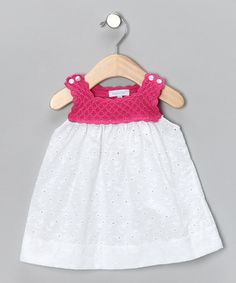 Another great find on #zulily! Pink & White Crocheted Dress - Infant by Hug Me First #zulilyfinds