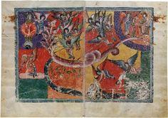 Mujer Vestida de Sol y  Derrota del Dragón de Siete Cabezas. Beato de Liébana, Comentarios del Apocalipsis. España 1220 Comprado por Pierpont Morgan, 1910 MS M.429 (ff. 101V-2)