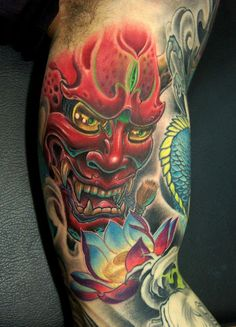 Hannya head tattoo on man right half sleeve japanese hannya tattoo Tattoo Video, Tattoo On, Piercing Tattoo, Asian Tattoos, Weird Tattoos, Tattoos For Guys, Japanese Mask Tattoo, Tattoo Japanese Style, Hannya Mask Tattoo