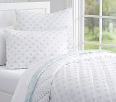 Silver Dot Quilted Bedding #pbkids