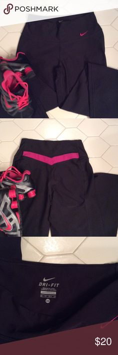 Nike work out pants Nike Dri-Fit workout pants in black with magenta in the back. Great condition Size XS $15  🔶 Please ask all your questions before you purchase. I'm happy😊 to help  🔶 Sorry, no trades or hold. 🔶 Please, no lowball offers. 🔶 Please use the Offer Button 🔶 Bundle for your best prices 🔶 Ships next day, if possible 🎀 Thank you for visiting my closet 🎀 Nike Pants