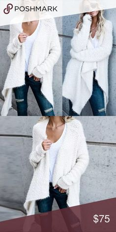 ✳️1 MEDIUM 😍CUDDLE ME 😍Faux Sherpa Cardigan 😍😍 CUDDLE AND SNUGGLE ME SOFT FAUX SHERPA ❤️ Just l In 🎉Hot Oversized Soft Fuzzy Sweater Super Cute Comfortable Classic White Sweater l Perfect l for winter l season l womens size Medium l hot l soft l draped l oversized l comfortable l womens winter snow cocktail career parties fleece jacket cardigan coat fuzzy oversize loose fit long sleeve fleece material Valentine's Day party date night cocktail  Bridal shower wedding shopping trendy hot…