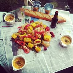 Crayfish, corn and beer.