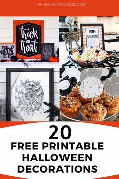 Do you want to decorate your home for Halloween, but you are on a budget? No problem! Use these 20 Free Printable Halloween Decorations to help you transform your home into a haunted house or your Halloween party into a monster mash. Here you'll find free printable Halloween images for labels, home décor, and party supplies. Have a spooktacular time! #printablehalloweendecorations #printablehalloweenimages #printablehalloweencrafts #halloweendecorations