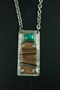 Copper Fold Formed Necklace with Turquoise made by Maggie J
