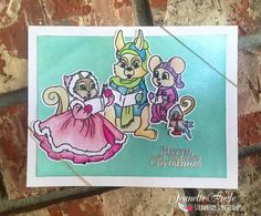 Christmas card using our high-quality photopolymer stamp sets Tag It: Christmas and Carol of the Critters