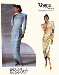 "80s Cocktail Dress Pattern, 80s Prom Dress Pattern, Bellville Sassoon pattern, Vogue Sewing Pattern, Vintage Sewing Pattern bust 34"" V1884"