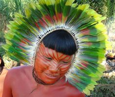 Tribal head dress - Remote Amazon tribes person