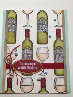 "Christmas Card - Stampin' Up Half Full Stamp Set - Stampin' Up Layering Ovals Dies - Inks: Versafine Onyx Black, Versamark - Kuretake Zig Clean Color Real Brush Markers: Olive Green, Wine Red, Dark Brown, Oatmeal, Light Gray, Gray Brown - Stampin' Up Cherry Cobbler Twine - Stampin' Up 3/8"" Silky Taffeta Ribbon Cherry Cobbler - May Arts Natural Twine - Little Things by Lucy Jewels Rainbow Sparkle - Cardstock: Arches Cold Pressed Watercolor, Stampin' Up Wood Textures, Stampin' Up Pool Party"