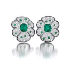 Emerald White and Black Diamond Earrings