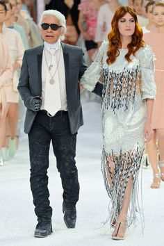 #KarlLagerfeld rocking the catwalk with #FlorenceWelch. So glam.