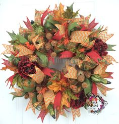 Deco Mesh Fall Wreath -Acorn -Gourds -Peonies -Fall Decor by www.southerncharmwreaths.com #fall #acorns #decor