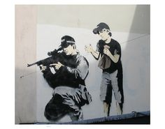 I bought Banksys Wall and Piece some years back and have always like his work. So this page is dedicated to Banksy. Banksy is a England based graffiti artist 3d Street Art, Street Art Banksy, Urban Street Art, Amazing Street Art, Urban Art, Grafitti Street, Wall Street, Banksy Graffiti, Banksy Artwork
