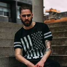 """Amerikunt"" Striped Mesh Tee Available at www.crmc-clothing.co.uk 