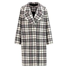 Carven Checked wool coat ❤ liked on Polyvore featuring outerwear, coats, checkered coat, wool coat, woolen coat, checked wool coat and checked coat