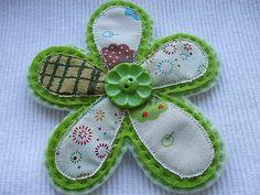 https://flic.kr/p/4zsxeD | felt and fabric flower brooch | handmade by me. Monda (see profile)