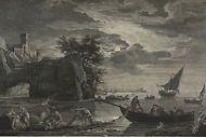 Joseph VERNET (1714-1789) La Peche Au Fanal, Große Originalradierung Kunst Antik