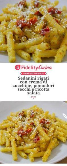 Sedanini rigati con crema di zucchine, pomodori secchi e ricotta salata