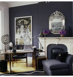 Grape wall color, mix of light and dark with sprinkles of straw and lilac....and the blend woods with metal and mirror :)