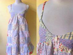Spring / Summer Sale: periwinkle patchwork print by VintageHomage