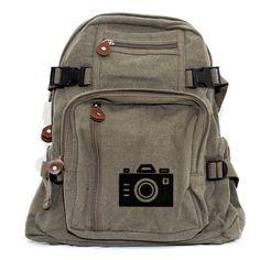 Camera Backpack Bag, Canvas Backpack Rucksack, Iconic Camera, Travel Backpack, Small Weekender Bag, Gift for Women, Gift for Men, Traveler by mediumcontrol on Etsy https://www.etsy.com/listing/112320681/camera-backpack-bag-canvas-backpack